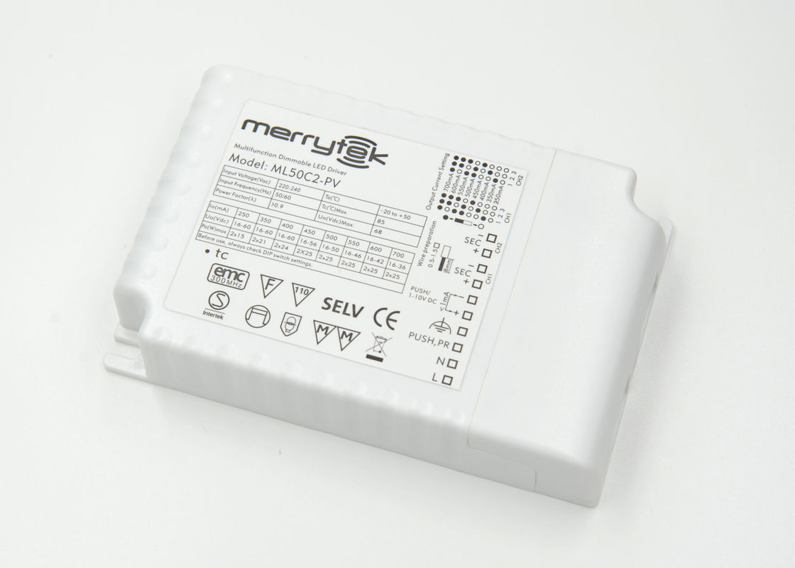 High Power 2  x  25W Two Channel Output 700ma Dimmable LED Driver 0-10v